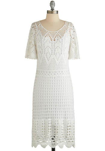 Whispering Meadow Dress - White, Solid, Crochet, Wedding, Bride, Shift, Short Sleeves, Better, Scoop, Scallops, Daytime Party, Summer, Knit, Vintage Inspired, Mid-length, Cotton, Sheer