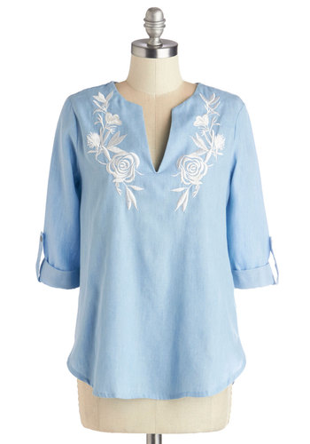 Cactus Collector Top - Good, Blue, Tab Sleeve, Cotton, Denim, Woven, Mid-length, Blue, White, Embroidery, Casual, Pastel, 3/4 Sleeve