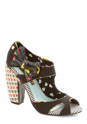 Network the Room Heel - High, Woven, Black, Multi, Solid, Bows, Cutout, Party, Cocktail, Print, Woven, Peep Toe