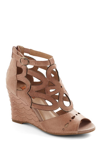The Waves We Were Wedge by Miz Mooz - Mid, Leather, Solid, Cutout, Party, Daytime Party, Beach/Resort, Best, Wedge, Tan, Social Placements