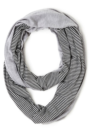Lunch Pairing Scarf - Cotton, Knit, Grey, Black, Stripes, Good, Grey, Casual