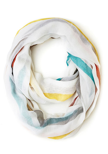 When in Wildwood Circle Scarf in White - White, Multi, Stripes, Casual, Good, White, Variation, Beach/Resort