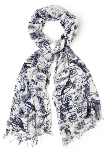 Inventive Ensemble Scarf - Cotton, Sheer, Woven, White, Casual, Better, Blue, Blue, Novelty Print, Statement
