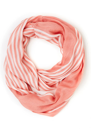 Rays on a Cloudy Day Scarf in Peach - Sheer, Woven, White, Stripes, Casual, Good, Orange, Pink, Pastel, Variation, Gals, Under $20