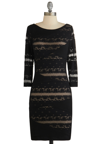 My Cocktail of Two Cities Dress - Black, Tan / Cream, Lace, Party, Shift, 3/4 Sleeve, Good, Knit, Woven, Mid-length, Top Rated