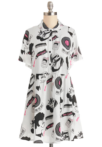 Doo-Wop Your Thing Dress by Lazy Oaf - Pink, Novelty Print, Buttons, Casual, Rockabilly, Vintage Inspired, 50s, A-line, Shirt Dress, Short Sleeves, Better, Collared, Black, Knit, Short, 90s, Multi, White