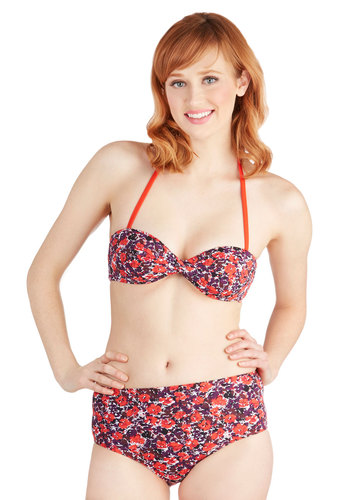 Flowers for the Taking Swimsuit Top - Knit, Multi, Red, Purple, Floral, Beach/Resort, Halter, Summer