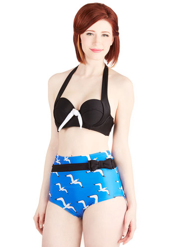 Sailorette at Sea Swimsuit Top in Black by Fables by Barrie - Knit, Black, White, Solid, Bows, Beach/Resort, Nautical, Pinup, Vintage Inspired, 50s, Halter, Summer, Variation, High Waist