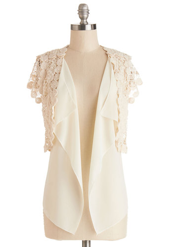 Iced Macchiato Cardigan - Better, White, Short Sleeve, Sheer, Mid-length, Cream, Solid, Crochet, Wedding, Sleeveless, Spring