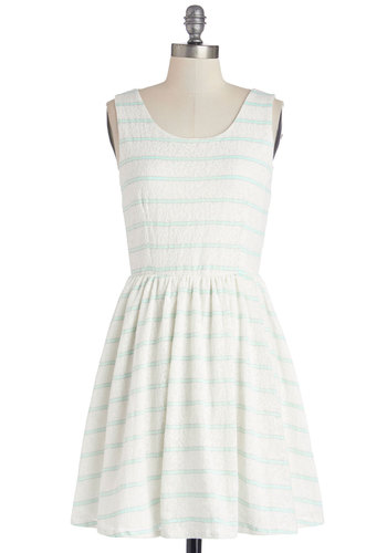 Glisten to the Wind Dress - White, Mint, Stripes, Lace, Daytime Party, A-line, Tank top (2 thick straps), Good, Scoop, Knit, Lace, Short, Sundress, Spring