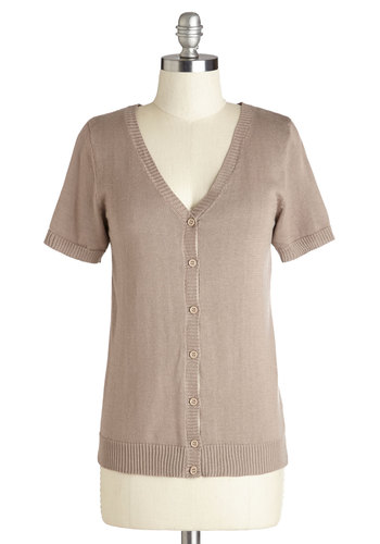Layer Your Look Cardigan in Beige - Knit, Mid-length, Tan, Solid, Buttons, Short Sleeves, Exclusives, Variation, V Neck, Brown, Short Sleeve
