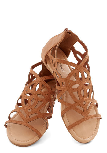 Island In the Sunshine Sandal - Faux Leather, Flat, Tan, Cutout, Beach/Resort, Summer, Good, Festival