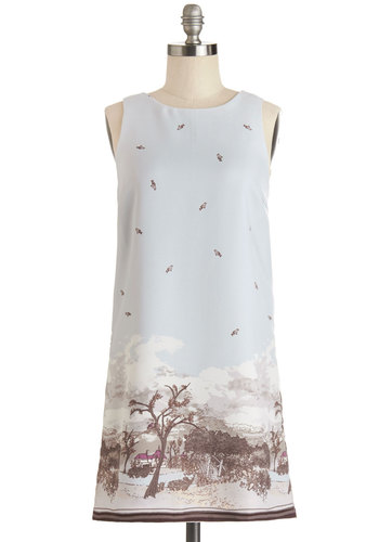 View from Here Dress - Multi, Novelty Print, Casual, Shift, Sleeveless, Good, Scoop, Short, Chiffon, Woven, Bird, Woodland Creature