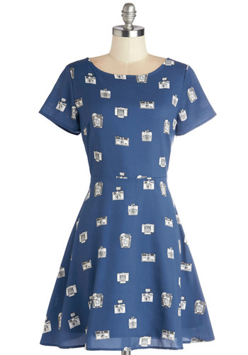 Capture the Look Dress by Sugarhill Boutique - Blue, Grey, Novelty Print, Cutout, Casual, A-line, Short Sleeves, Better, International Designer, Scoop, Woven, Mid-length, Show On Featured Sale