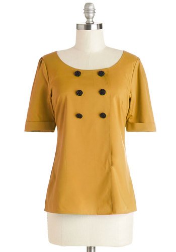 Drama Club President Top in Mustard by Myrtlewood - Woven, Mid-length, Yellow, Solid, Buttons, Work, Short Sleeves, Exclusives, Private Label, Yellow, Short Sleeve, Variation, Vintage Inspired, Scoop