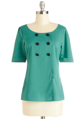 Drama Club President Top in Turquoise by Myrtlewood - Woven, Mid-length, Green, Solid, Buttons, Work, Short Sleeves, Exclusives, Variation, Private Label, Green, Short Sleeve, Vintage Inspired, Scoop