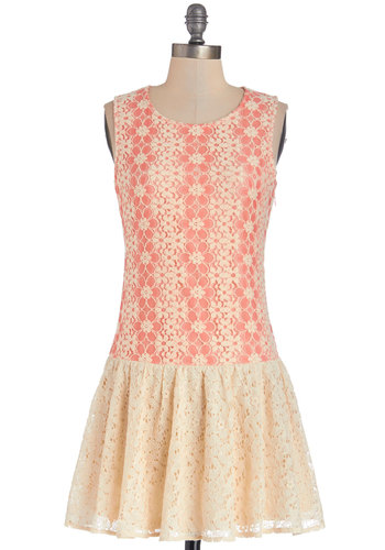 Because of the Ballet Dress - Coral, Lace, Daytime Party, Drop Waist, Sleeveless, Better, Scoop, Knit, Mixed Media, Lace, Short, Tan / Cream, Fairytale