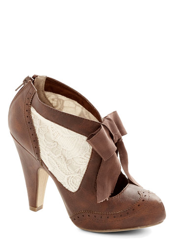 Drama Director Heel in Brown - High, Faux Leather, Woven, White, Solid, Bows, French / Victorian, Good, Variation, Brown, Lace