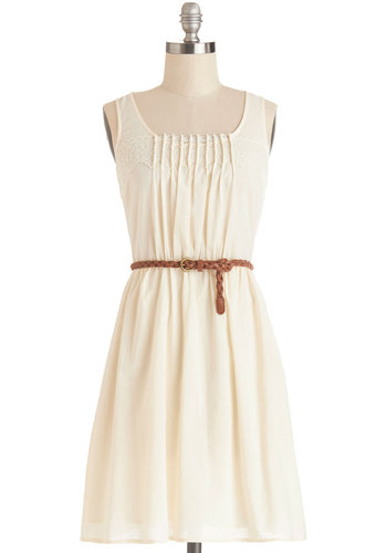 Rules of Strum Dress - Cream, Solid, Lace, Pleats, Belted, Casual, A-line, Sleeveless, Good, Scoop, Cotton, Mid-length, Sundress, Festival