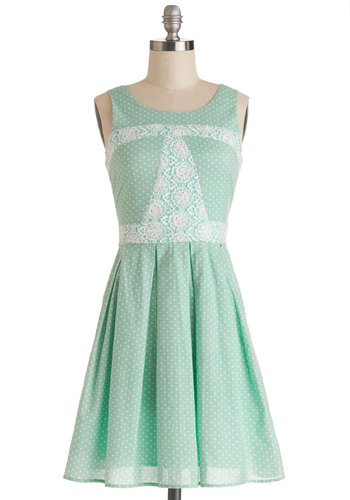 Sunday Darling Dress - Mint, Tan / Cream, Polka Dots, Lace, Pleats, A-line, Tank top (2 thick straps), Good, Scoop, Mid-length, Cotton, Woven, Daytime Party, Spring, Pastel