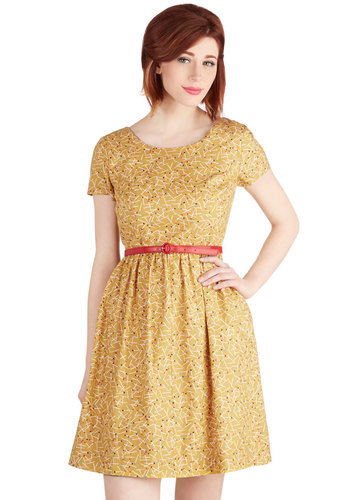 See the Delight Dress by Bea & Dot - Yellow, Vintage Inspired, 50s, A-line, Short Sleeves, Exclusives, Private Label, Multi, Casual, Pockets, Cotton, Woven, Mid-length, Novelty Print, Belted, Scoop