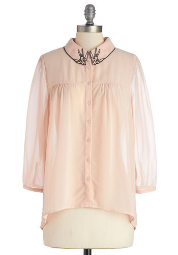 Post-Flight Fete Top - Sheer, Mid-length, Chiffon, Woven, Pink, Solid, Embroidery, Long Sleeve, Spring, Better, Pink, Long Sleeve, Print with Animals, Buttons, Pastel, Critters, Bird, Woodland Creature