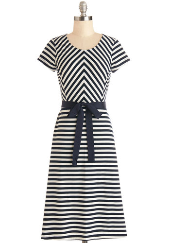 Baker's Choice Dress - Blue, White, Stripes, Belted, Casual, Beach/Resort, Nautical, A-line, Short Sleeves, Good, Scoop, Knit, Long
