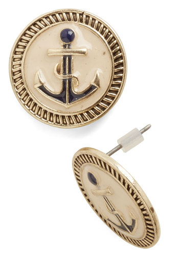 Boating Beauty Earrings - Solid, Nautical, Gold, Good, Blue, Tan / Cream, Novelty Print