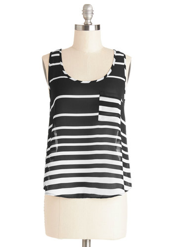 Grab Your Sketchbook Top - Sheer, Mid-length, Woven, Black, White, Stripes, Pockets, Sleeveless, Summer, Black/White, Sleeveless, Exposed zipper, Scoop, Spring, Good