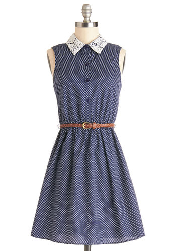 Yu-Jung's Walk on the Winsome Side Dress - Blue, White, Crochet, Belted, Casual, A-line, Shirt Dress, Sleeveless, Good, Collared, Mid-length, Cotton, Sheer, Woven, Polka Dots, Buttons