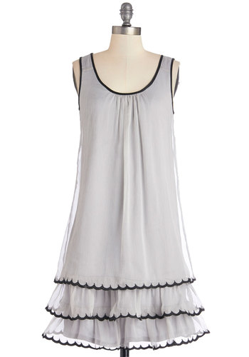 On the Dance Flow Dress in Light Grey - Grey, Black, Solid, Tiered, Trim, Casual, Tent / Trapeze, Sleeveless, Good, Scoop, Mid-length, Chiffon, Woven