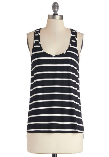 Go by Bike Top - Good, Black/White, Sleeveless, Mid-length, Knit, Black, White, Stripes, Casual, Summer, Black, Tank top (2 thick straps), Scoop