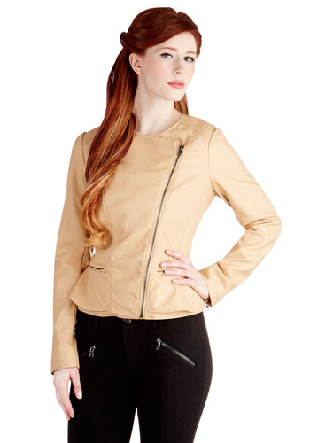 Coffee Curator Jacket - Good, Pink, Spring, 2, Solid, Exposed zipper, Pockets, Urban, Peplum, Long Sleeve, Faux Leather, Tan, Short