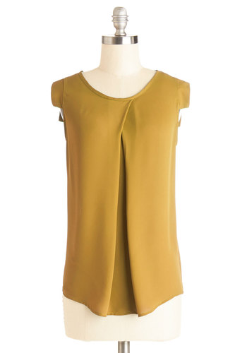 Jet Setter's Jewel Top in Amber - Mid-length, Chiffon, Woven, Yellow, Solid, Sleeveless, Variation, Scoop, Yellow, Short Sleeve