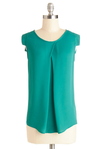 Jetsetter's Jewel Top in Emerald - Mid-length, Chiffon, Woven, Green, Solid, Sleeveless, Variation, Scoop, Green, Short Sleeve