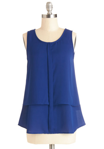 Bold Me Close Top - Sheer, Woven, Mid-length, Blue, Solid, Sleeveless, Good, Blue, Sleeveless, Tiered, Casual, Scoop