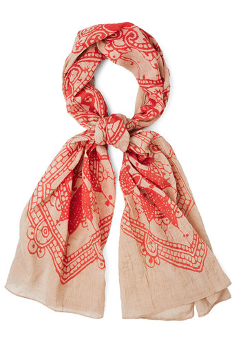 Santiago Sunset Scarf - Coral, Tan / Cream, Print, Casual, Boho, Better, Cotton, Sheer, Woven, Festival