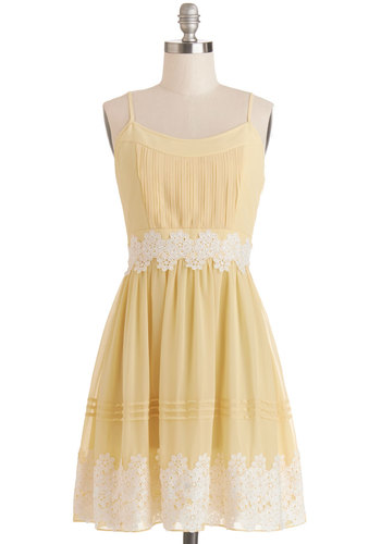 Life is But a Gleam Dress in Yellow - Chiffon, Woven, Mixed Media, Mid-length, Yellow, White, Crochet, Wedding, Bridesmaid, A-line, Spaghetti Straps, Better, Scoop, Daytime Party, Variation