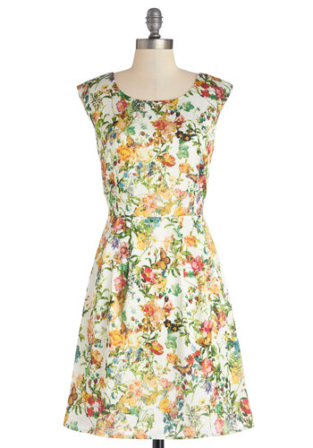Meadow Merriment Dress - Sheer, Satin, Woven, Mid-length, Floral, A-line, Better, Scoop, Multi, Daytime Party, Cap Sleeves, Exclusives, Spring