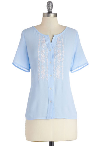 Canyon Trek Top - Better, Blue, Short Sleeve, Sheer, Woven, Mid-length, Blue, White, Buttons, Embroidery, Boho, Pastel, Short Sleeves