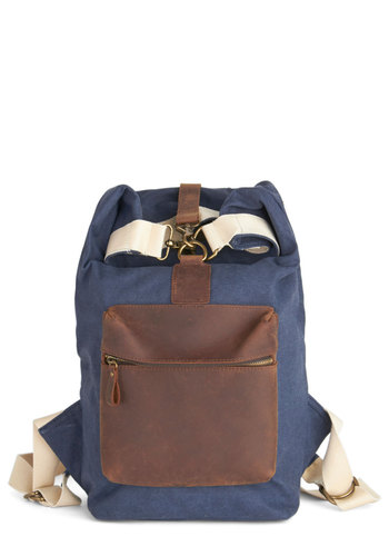 Maine Character Backpack - Blue, Tan / Cream, Solid, Pockets, Colorblocking, Scholastic/Collegiate, Leather, Woven, Brown, Best, Blue, Travel, Summer, Americana