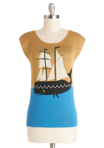 Take to the Sea Sweater by Dear Creatures - Yellow, Blue, Black, Print with Animals, Nautical, Critters, Sleeveless, Better, Exclusives, Yellow, Sleeveless, Knit, Mid-length, Spring, Novelty Print