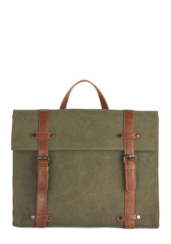 Camp Director Backpack in Moss - Green, Tan / Cream, Solid, Work, Casual, Better, Variation, Faux Leather, Woven, Scholastic/Collegiate, Festival