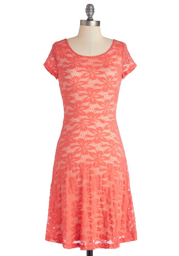 Porch Swing Singing Dress - Coral, Solid, Lace, Casual, A-line, Cap Sleeves, Better, Scoop, Knit, Lace, Mid-length, Sundress, Jersey