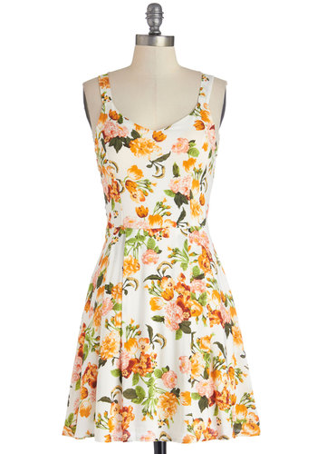Prose Poem Dress - Sheer, Woven, Mid-length, Multi, Floral, Casual, A-line, Sleeveless, Good, Pleats, Sundress, Spring, Summer
