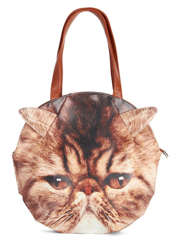 Feline Bold Bag - Faux Leather, Brown, Multi, Print with Animals, Casual, Quirky, Cats, Better, Critters, Work
