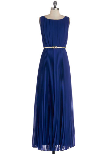 Dancing in Romance Dress - Woven, Blue, Solid, Pleats, Belted, Special Occasion, Prom, Wedding, Bridesmaid, Maxi, Sleeveless, Better, Exposed zipper
