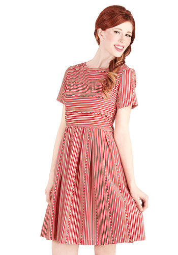Along for the Carnival Ride Dress by Bea & Dot - Private Label, Cotton, Woven, Red, White, Stripes, Pleats, Casual, Nautical, A-line, Short Sleeves, Better, Scoop, Pockets, Exclusives, Top Rated, Full-Size Run, Mid-length
