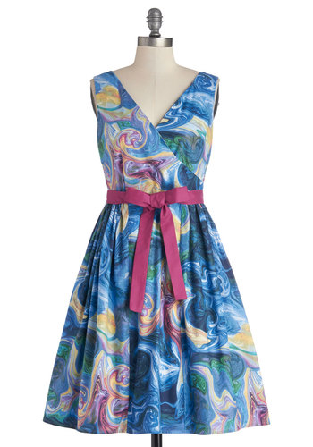 In the Key of Chic Dress in Watercolors by Bea & Dot - Spring, Cotton, Woven, Mid-length, Multi, Print, Belted, Party, A-line, Tank top (2 thick straps), Better, V Neck, Pockets, Exclusives, Variation, Private Label