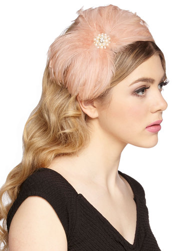 Cocktails in Celebration Headband - Pink, White, Solid, Feathers, Pearls, Wedding, Bridesmaid, Bride, Luxe, Statement, Better, Pink, Rhinestones, Special Occasion, Vintage Inspired, 20s, 30s, Party